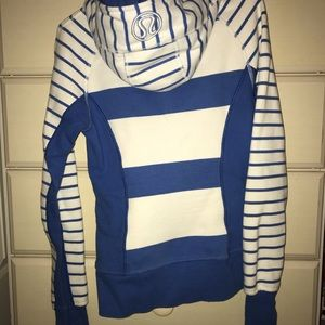lulu blue and white striped zip up